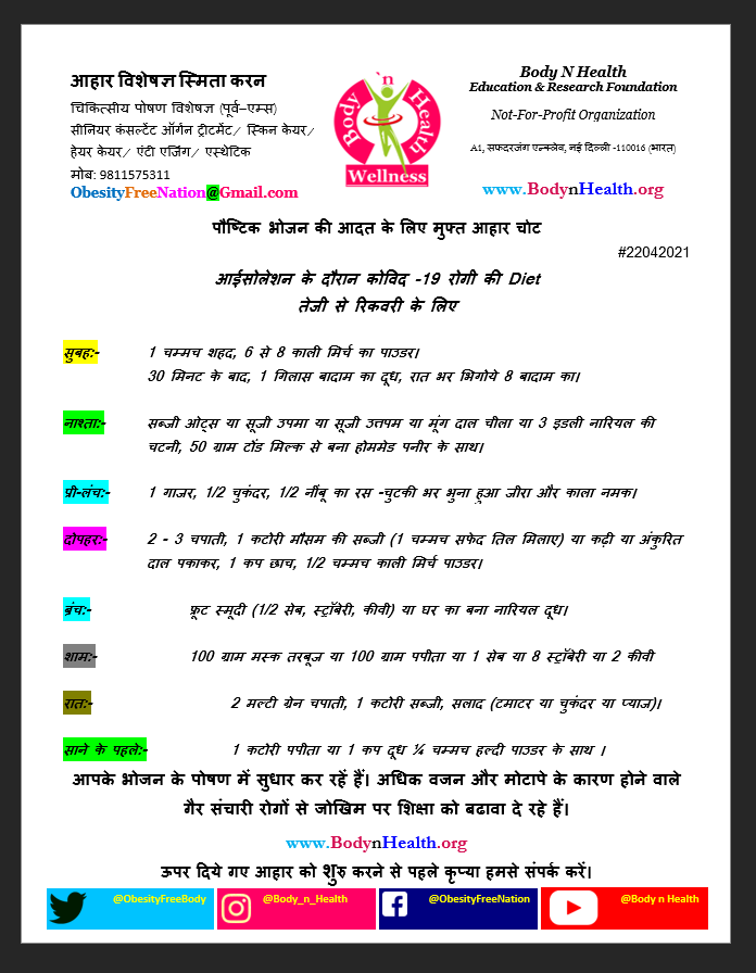 Free Covid-19 patient Diet page Hindi