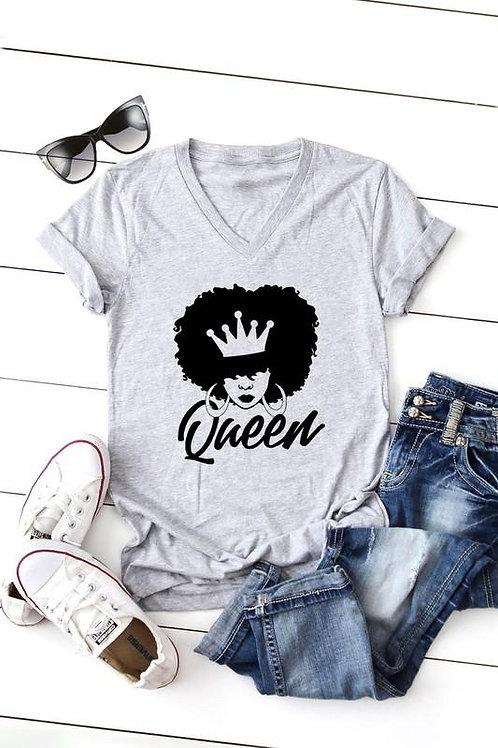Queen Short Sleeve v Neck T-Shirt