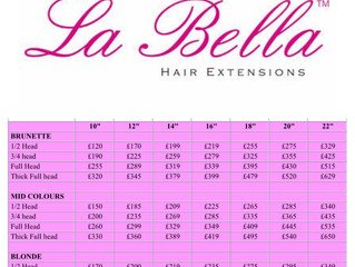 La Bella Hair Extensions Price List
