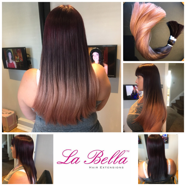 Rose gold hair extensions la bella nano ring hair extensions our client has a gorgeous dark plum hair colour and rather than bleach her own hair she used the extensions to add the rose gold pmusecretfo Choice Image