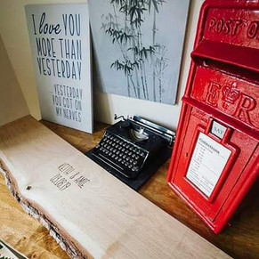 Postbox, typewriter, sign and personalised guestbook table