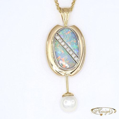 Opal, Diamond & Pearl Pendant