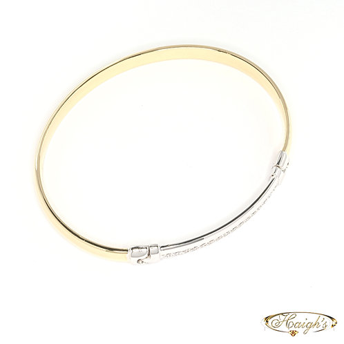 Diamond Set Solid Bangle