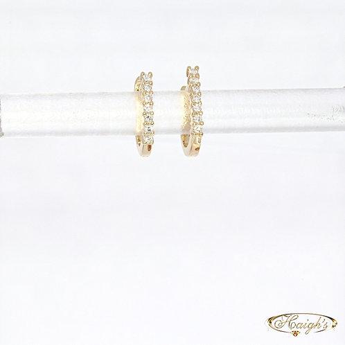 Diamond Set Huggie Earrings