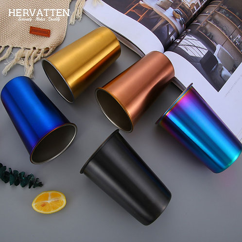 Hervatten SUS304 Stainless Steel Picnic Cup With Straw 500ML