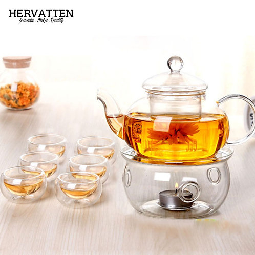 Hervatten High Borosilicate Glass Teapot + Tea Cups + Insulation Stove