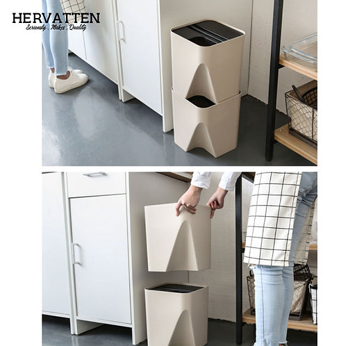 Japanese Style Stack-able Space Saving Sorting Garbage Dustbin Recycle Trash Bin