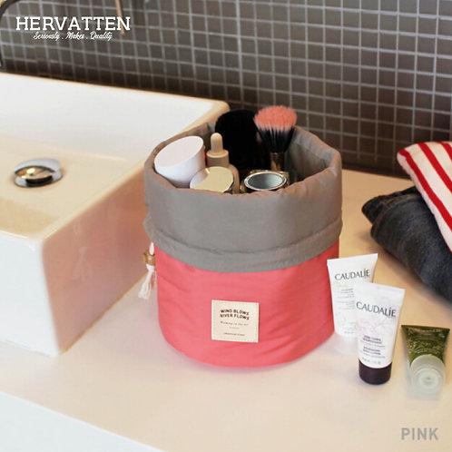 Waterproof Cylinder Cosmetic Storage Bag with Nylon Drawstring
