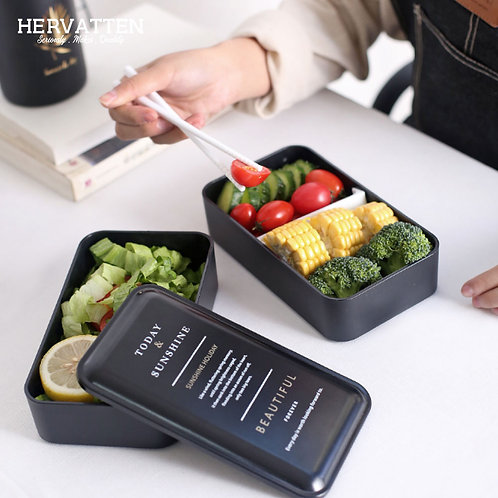 Hervatten Double Layered Compartment Lunch Box (Micro-Oven Friendly)