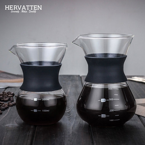 High Temperature Glass Hand Drip Coffee Maker Filter Pot with Scale