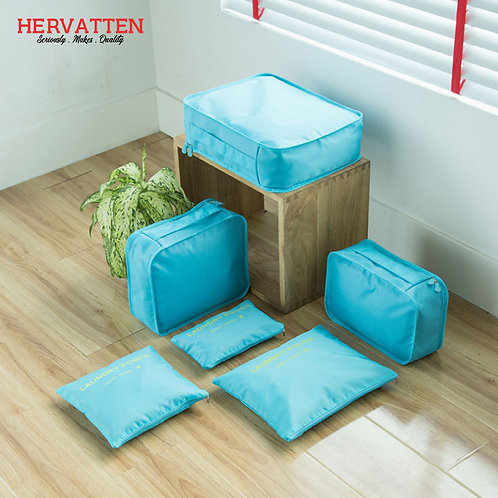 Hervatten 6Pcs Travel Portable Storage Bag Set Waterproof Clothes Cosmetics