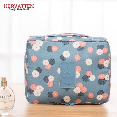 Hervatten Waterproof Cosmetic Flower Printed Storage Bag