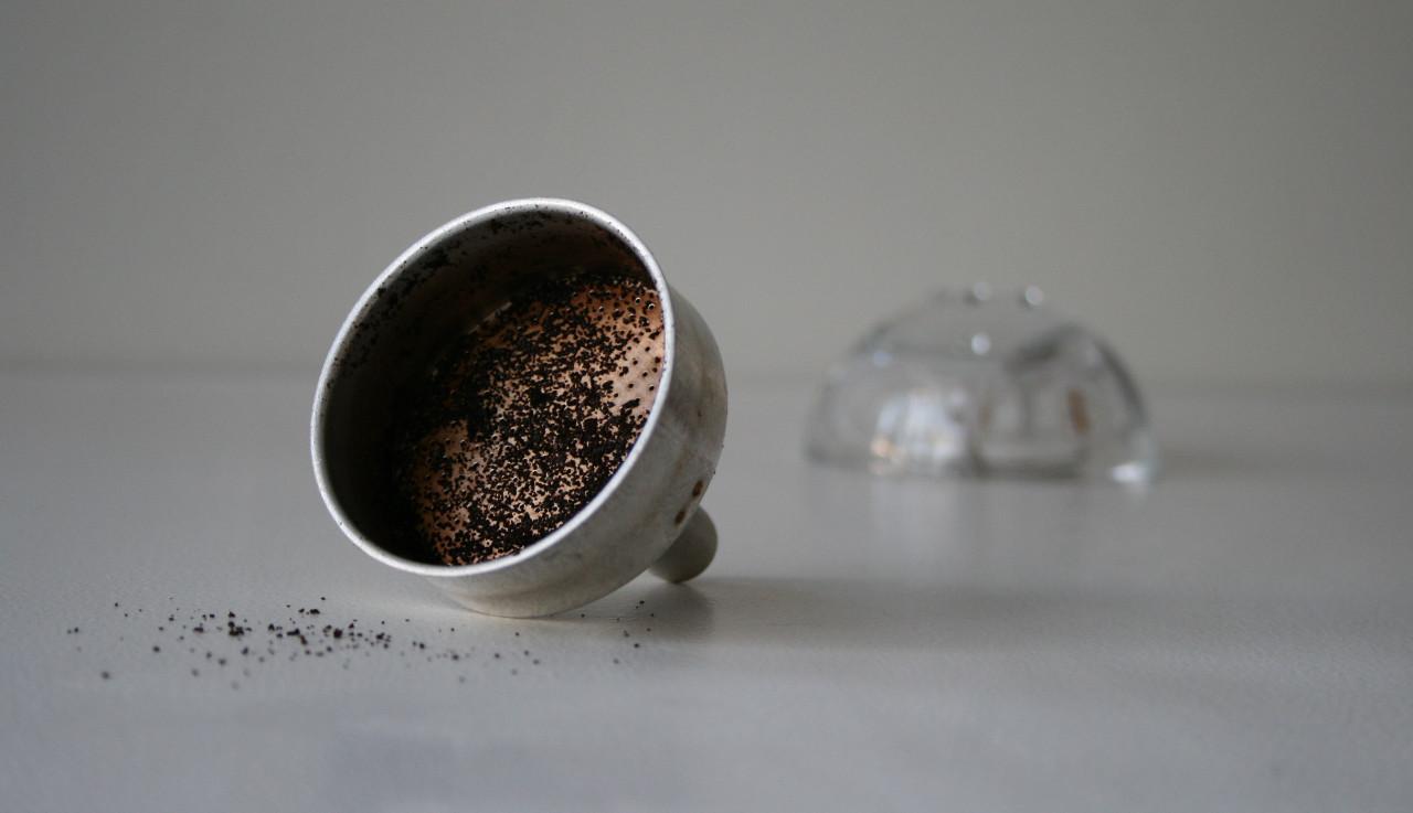 Moka pot funnel, coffee grounds and candleholder (2020)