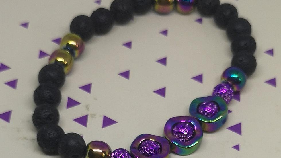 Rainbow Hematite and Lava Bead Aromatherapy Bracelet
