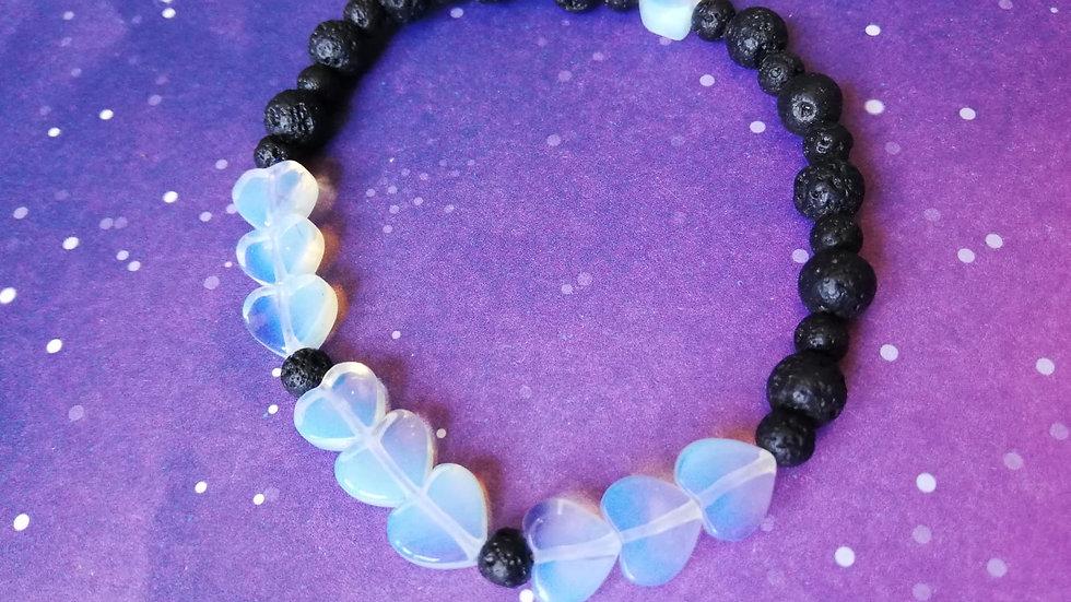 Opalite Heart and Lava Bead Aromatherapy Bracelet