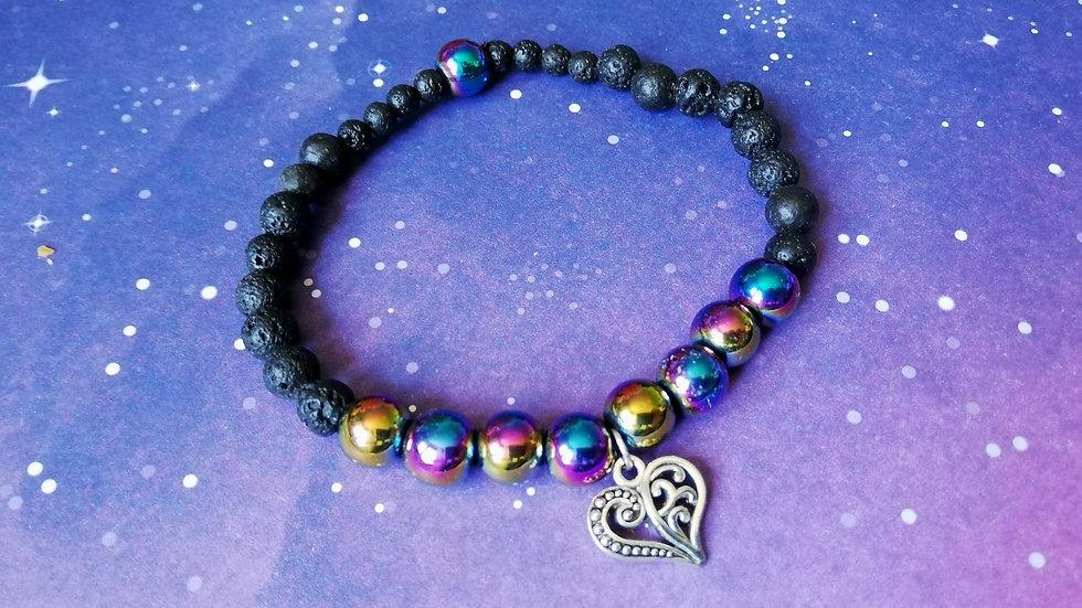 Rainbow Hematite and Lava Stone Aromatherapy Bracelet