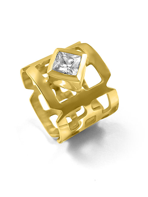 Orient square wide stone set Ring