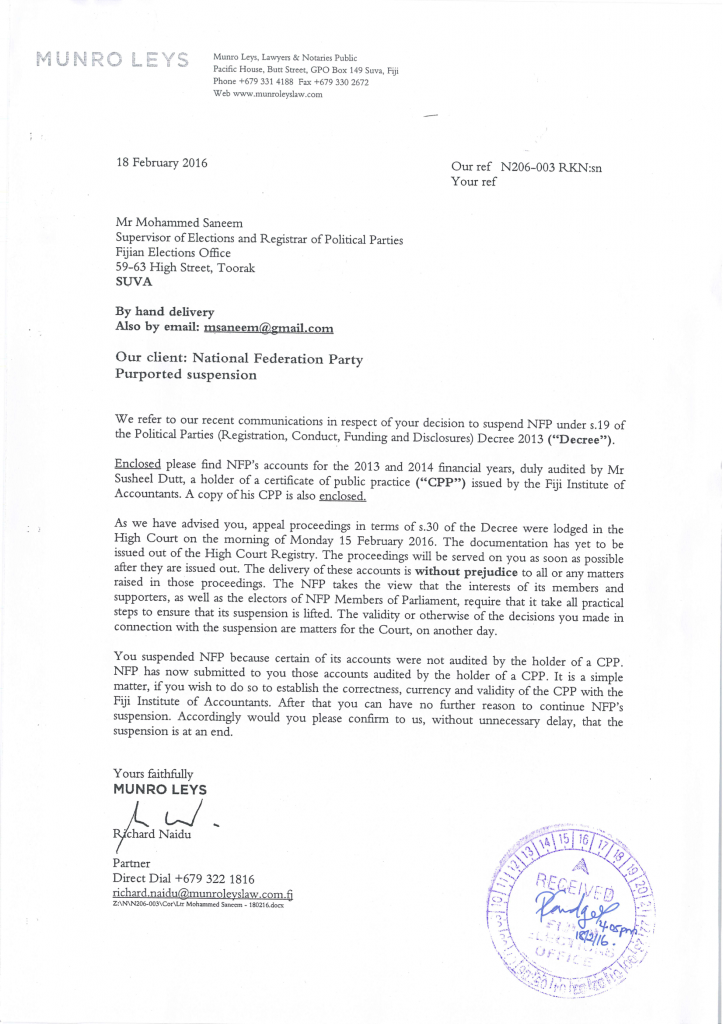 This is a copy of the letter from the NFP lawyer to the Supervisor of Elections upon re-submission of the party's re-audited accounts yesterday.