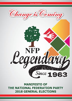 Cover Page of National Federation Party 2018 Manifesto