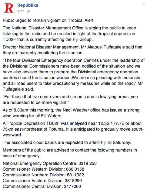 tropical alert