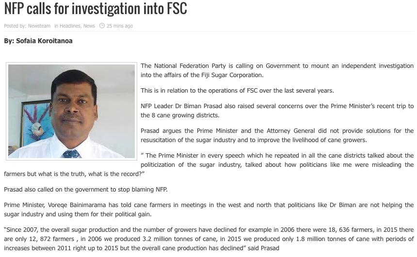 fjtv - nfp calls on investgn into FSC