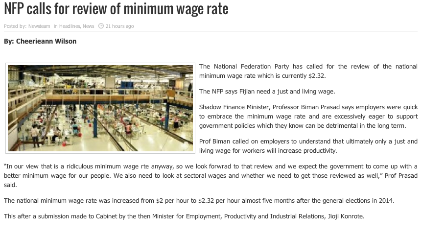 NFP CALS FOR MINIMUM WAGE