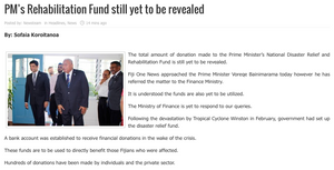 fjtv - pms relief fund still to be revealed