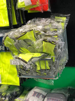 lime and gray gloves