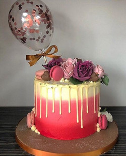 Pink Ombre with balloon