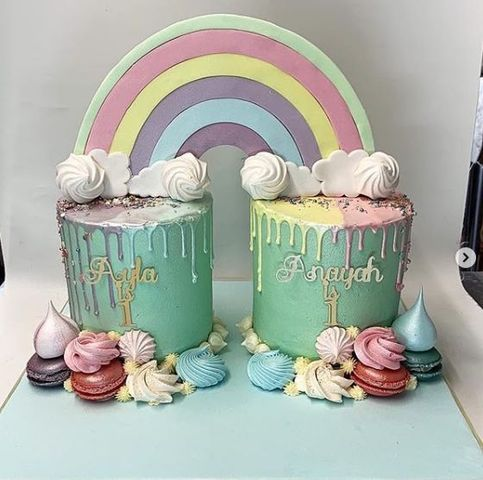 Rainbow Cake for Twins