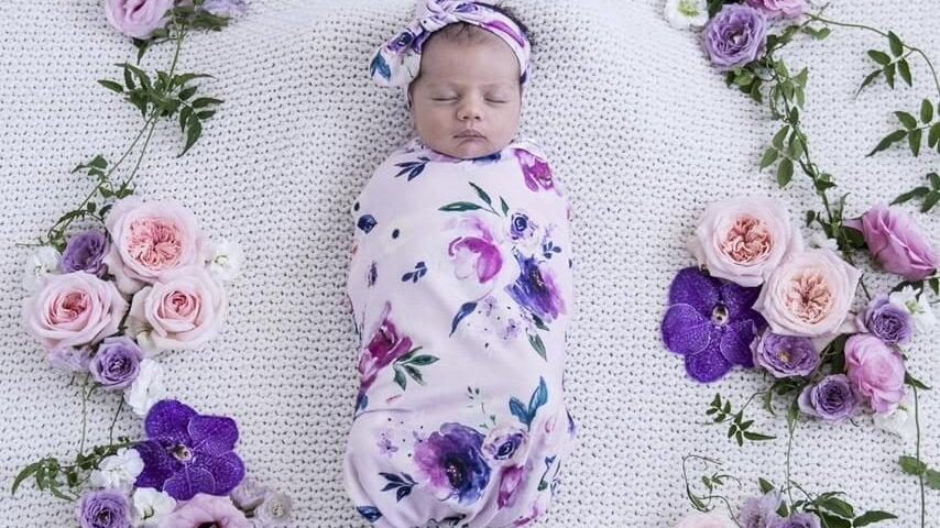 Floral Kiss Snuggle Swaddle & Topknot Set