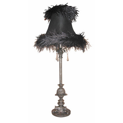 Black Feather Table Lamp