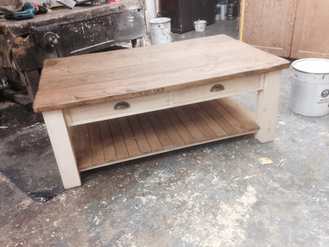 2 Drawer Plank Coffee Table with Breadboard