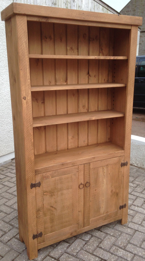Rustic Plank Bookcase 2 Door