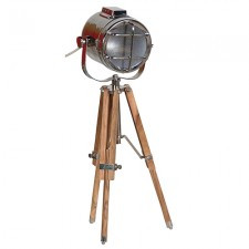 Wood/Nickel Tripod Lamp
