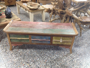 Recycled Boat Wood TV 3 Drawer