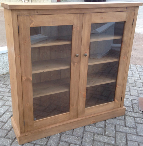 Reclaimed Pine Bookcase Glass Door