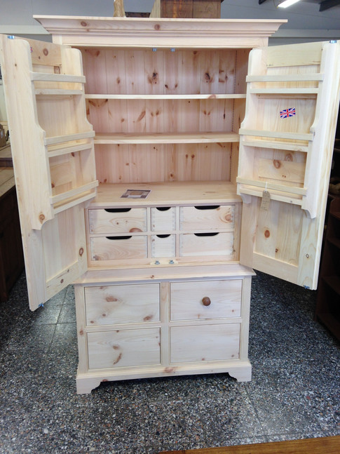 Larder Bare Wood Soft Close Drawers