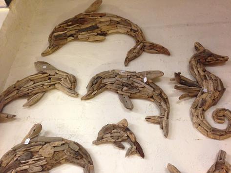Driftwood Wall Art Dolphin Seahorse