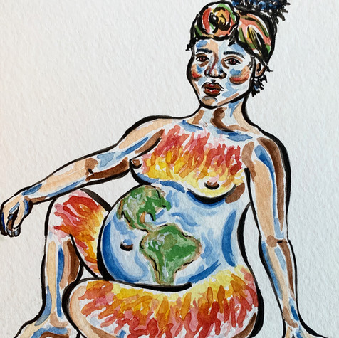 "watercolor illustration (""Of Course She Burns"")"