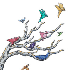 Paper Birds Watercolor and Ink Illustration
