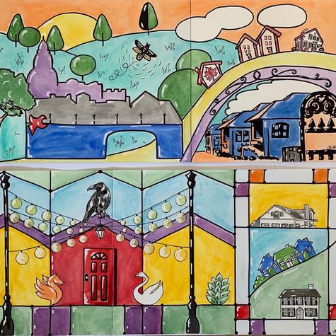 Tosa Neighborhood Mural Design Proposals (8.5x20ft)