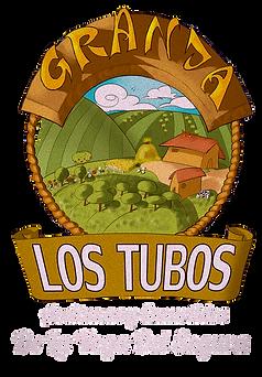 Logotipo Aceitunas Granja Los Tubos. En el diseño se puede apreciar una granja en una bonita huerta.