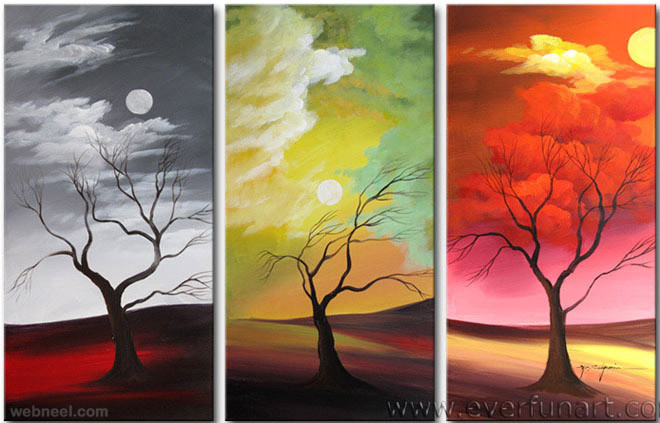 Three panel paintings of dead trees under the sun with a grey sky, yellow sky and red sky