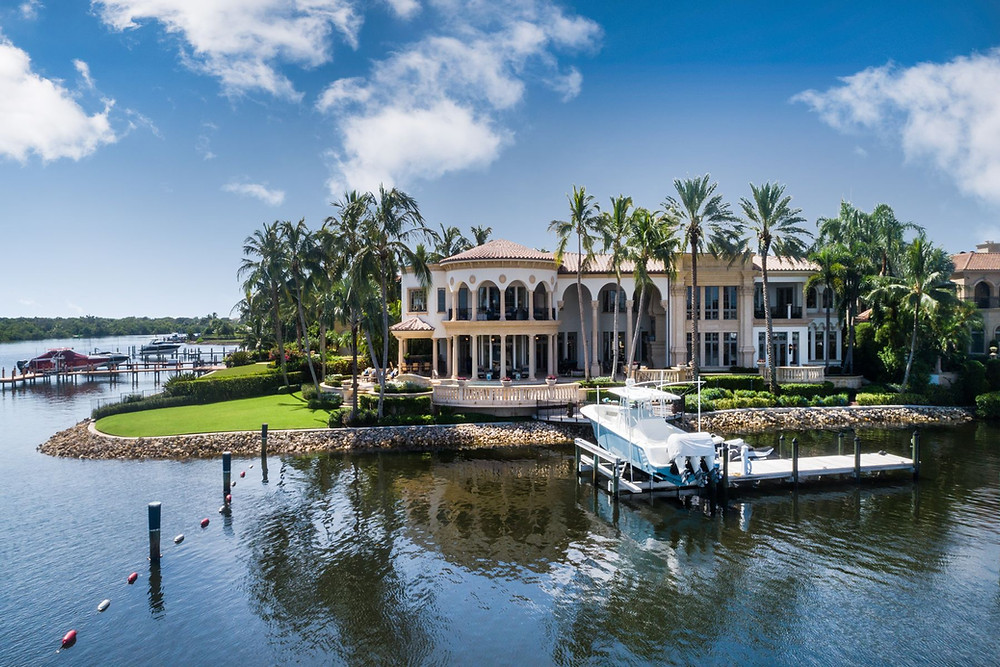 Florida house on the water with a dock