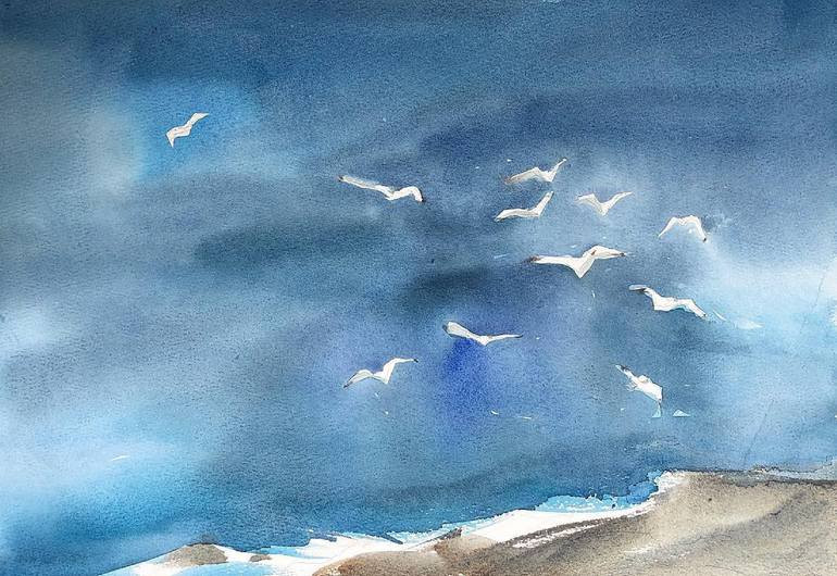 Water color painting of seagulls at the beach