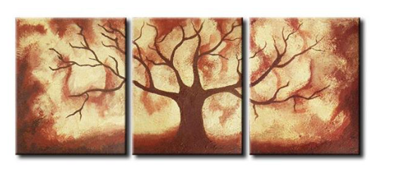 Three panel painting of a single tree in red, brown, and cream.