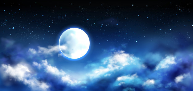 Full moon with starry background and partial cloud cover
