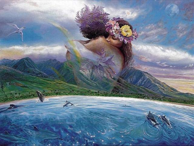 Male and female embrace in the sky over the ocean and mountains