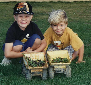 Sam and Harrison and grapes.JPG
